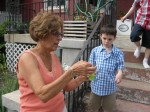 When you've been a Mean Mom with your own kids, you get to be a Fun Grandma. Here she is blowing bubbles with James.
