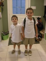 First day of school, last year. I can't help being organized, but I fear it triggers an excess of impatience.