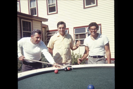 From left, my great-uncle Patty, my dad, and his cousin Joe at Riedlbauer's in 1968.